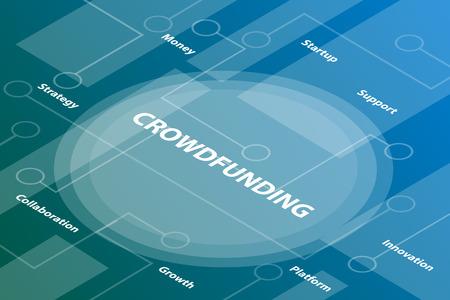 Palabras de crowdfunding concepto de texto de palabra 3d isométrica con texto relacionado y puntos conectados - ilustración vectorial