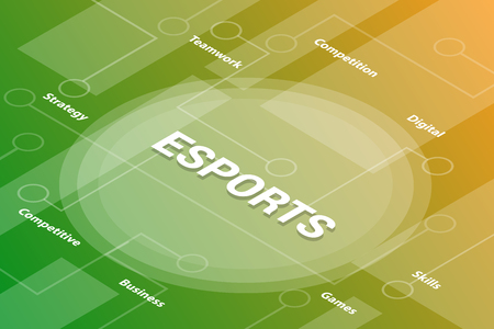 e-sports words isometric 3d word text concept with some related text and dot connected - vector illustration