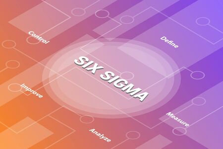 six sigma concept words isometric 3d word text concept with some related text and dot connected - vector illustration