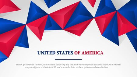 usa united states of america template banner full hd size with polygonal 3d shape shadow effect for print or landing homepage website - vector illustration