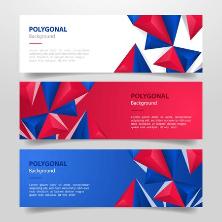 united states usa america flag set template banner with various red white and blue color horizontal layout - vector illustration Stock Illustratie