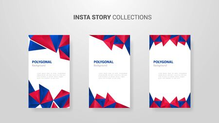 united states usa america flag set template banner insta story collection with polygonal pattern shadow - vector illustration Stock Illustratie