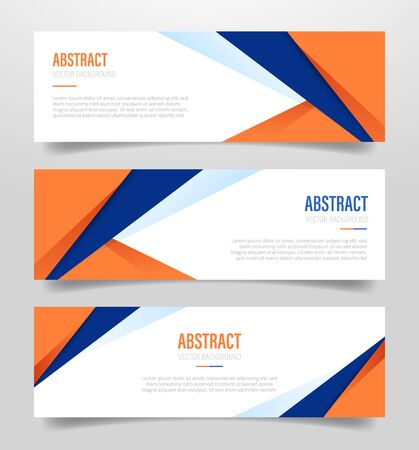 abstract geometric banner with polygonal shape with orange and dark blue color with 3 three variations collection with modern flat style - vector illustration Stock Illustratie