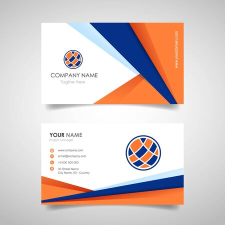 business name card template with front and back cover with polygonal geometric shape for print template - vector illustration