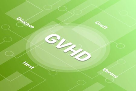 gvhd concept words isometric 3d word text concept with some related text and dot connected - vector illustration Stock Illustratie
