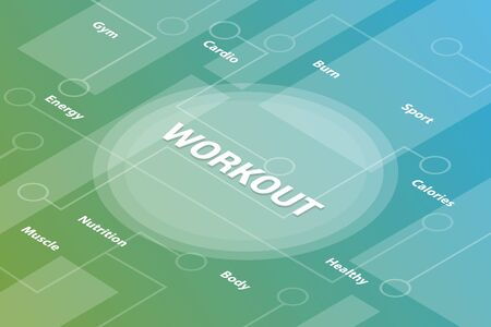 workout concept words isometric 3d word text concept with some related text and dot connected - vector illustration