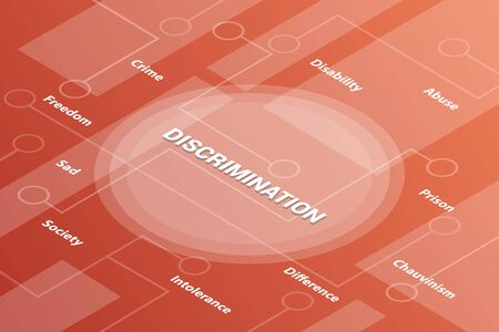 discrimination concept words isometric 3d word text concept with some related text and dot connected - vector illustration