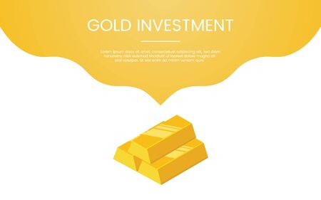 gold investment finance concept theme for template banner or landing homepage infographics - vector illustration