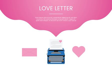 love letter concept template with love icon and pink color theme for template banner or landing infographics - vector illustration