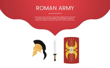 ancient rome or spartha army military concept theme for template banner or landing infographics - vector illustration