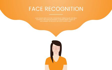 face recognition technology concept theme for template banner or landing infographics - vector illustration Stockfoto - 128643697
