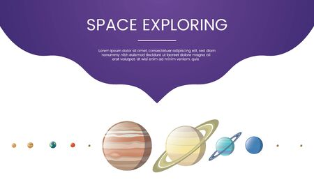 planet explore technology concept theme for template banner or landing homepage infographics - vector illustration