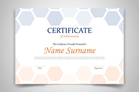 hexagonal certificate design template paper with modern flat style and realistic shadow - vector illustration