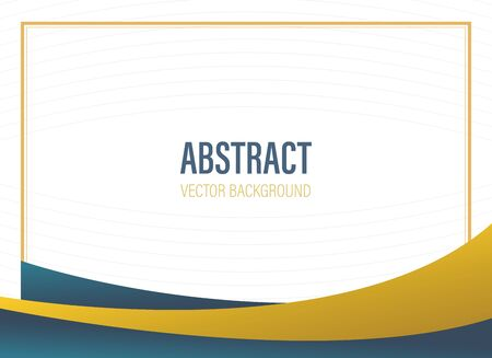 abstract background template banner with wave shape with dark blue and gold color with free space - vector illustration