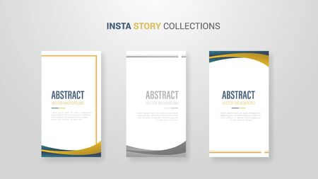 insta story design template banner with 3 option list and wave golden shape - vector illustration