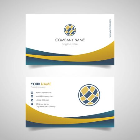 name card business design template with front and back cover design with gold and blue color - vector illustration 일러스트