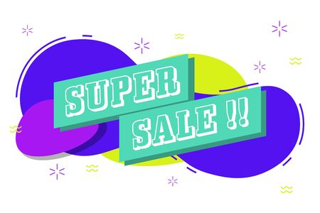 super sale banner template with vibrant vivid color and flat style vector
