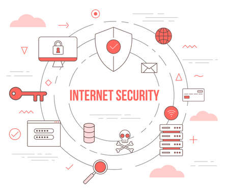 internet security technology concept with icon set template banner with modern orange color style