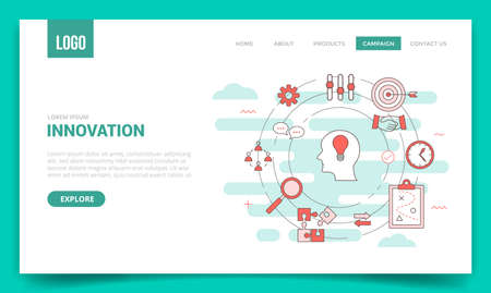 innovation concept with circle icon for website template or landing page banner homepage Illusztráció