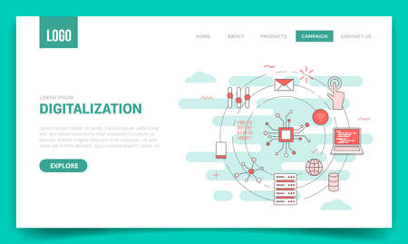 digitalization concept with circle icon for website template or landing page banner homepage