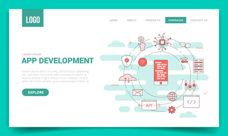 app development concept with circle icon for website template or landing page banner homepage