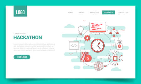 hackathon concept with circle icon for website template or landing page banner homepage