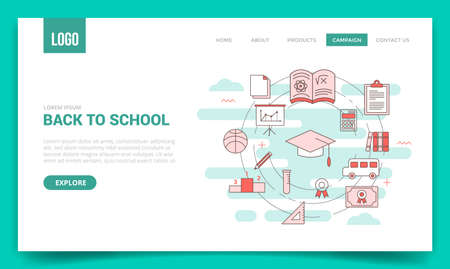 back to school concept with circle icon for website template or landing page banner homepage