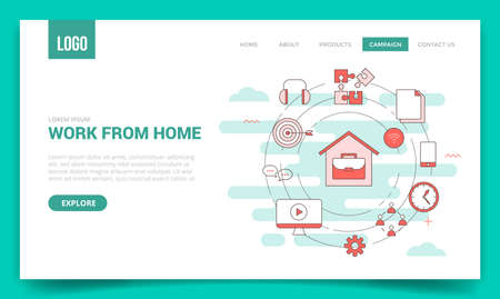 wfh work from home concept with circle icon for website template or landing page banner homepage