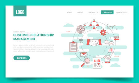 crm customer relationship management concept with circle icon for website template or landing page banner homepage