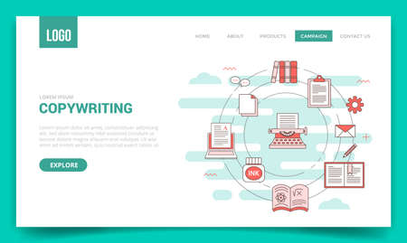 copywriting concept with circle icon for website template or landing page banner homepage Illusztráció