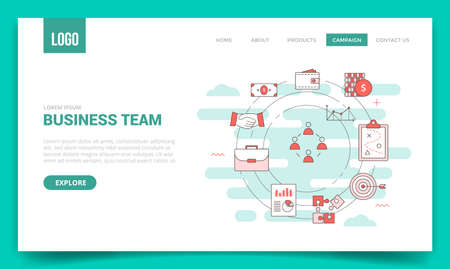 business team concept with circle icon for website template or landing page banner homepage Illusztráció