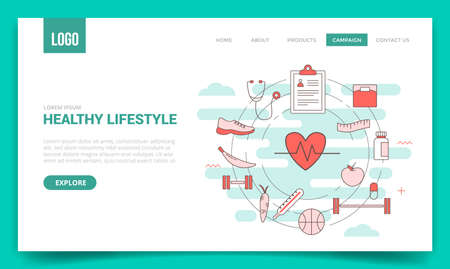 healthy lifestyle concept with circle icon for website template or landing page banner homepage Illusztráció