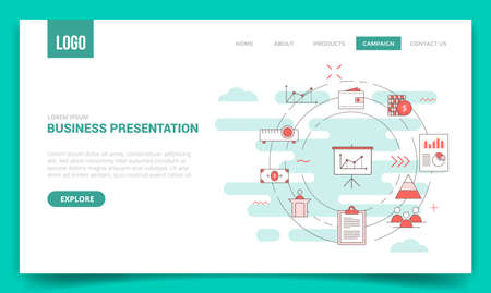 business presentation concept with circle icon for website template or landing page banner homepage