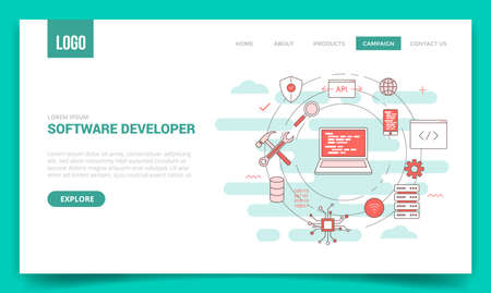 software developer concept with circle icon for website template or landing page banner homepage