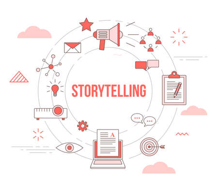 storytelling concept with icon set template banner with modern orange color style and circle shape
