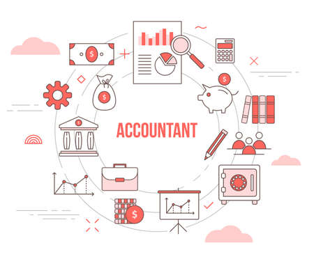 accountant concept with icon set template banner with modern orange color style and circle shape Vectores