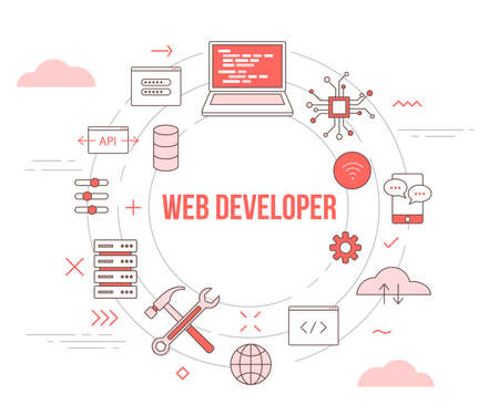 web or website developer concept with icon set template banner with modern orange color style and circle shape