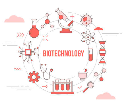 biotechnology concept with icon set template banner with modern orange color style and circle shape Illusztráció