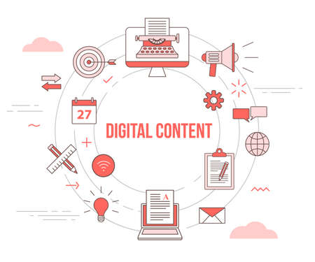 digital content concept with icon set template banner with modern orange color style and circle shape