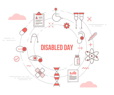 disabled day concept with icon set template banner with modern orange color style and circle shape Illusztráció