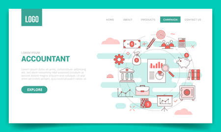 accountant concept with circle icon for website template or landing page banner homepage Illusztráció