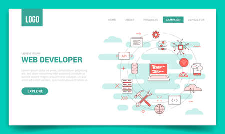 web developer concept with circle icon for website template or landing page banner homepage