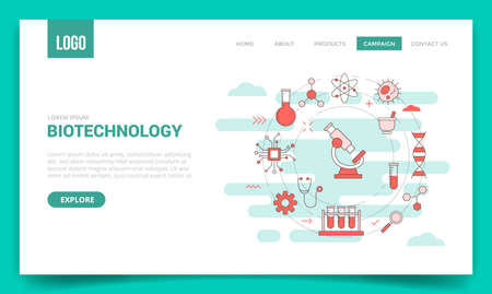 biotechnology concept with circle icon for website template or landing page banner homepage