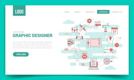 graphic designer concept with circle icon for website template or landing page banner homepage