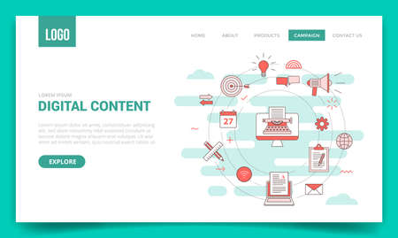 digital content concept with circle icon for website template or landing page banner homepage Illusztráció