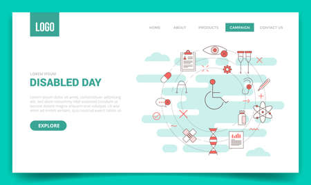 disabled day concept with circle icon for website template or landing page banner homepage Illusztráció