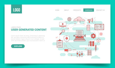 ugc user generated content concept with circle icon for website template or landing page banner homepage