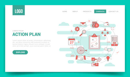 action plan business concept with circle icon for website template or landing page banner homepage