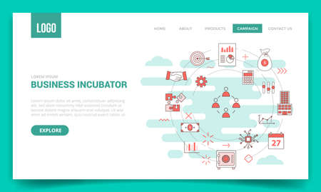 business incubator concept with circle icon for website template or landing page banner homepage Illusztráció