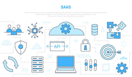 saas software as a service concept with icon line style set template banner with modern blue color Illusztráció